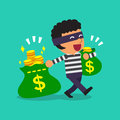 Cartoon businesswoman carrying money bags