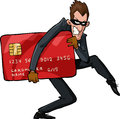 Cartoon thief a with a credit card Royalty Free Stock Photo