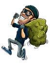 Cartoon thief running with a bag of stolen goods