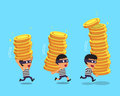 Cartoon thieves stealing money coin stacks Royalty Free Stock Photo