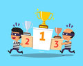 Cartoon thieves stealing winners podium and trophies Royalty Free Stock Photo