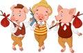 Cartoon three little pigs