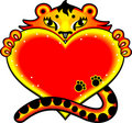 Cartoon tiger with love heart Stock Image