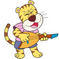 Cartoon tiger playing electric guitar Royalty Free Stock Images