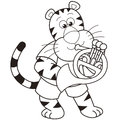 Cartoon tiger playing french horn Royalty Free Stock Photos