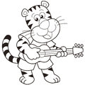 Cartoon tiger playing guitar Royalty Free Stock Photo