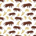 Cartoon tiger and skulls seamless pattern background Royalty Free Stock Photo