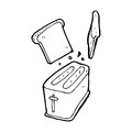 Cartoon toaster spitting out bread black and white line in retro style vector available Stock Photography