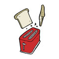 Cartoon toaster spitting out bread hand drawn illustration in retro style vector available Royalty Free Stock Photo