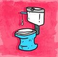 Cartoon toilet illustration, vector icon