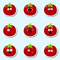 Cartoon tomato cute character face sticker.
