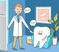 Cartoon tooth and dentist in dentistry reception. Cozy dental waiting room
