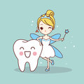 Cartoon tooth with tooth fairy Royalty Free Stock Photo