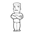 Cartoon tough guy with folded arms black and white line in retro style vector available Stock Photos