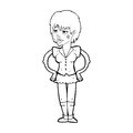 Cartoon tough woman with hands on hips black and white line in retro style vector available Stock Image
