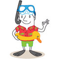 Cartoon tourist snorkel hawaiian shirt vector illustration of a monochrome character wearing diving goggles and flippers showing Stock Images