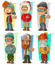 Cartoon tourist traveler with backpack characters vector set
