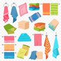 Cartoon towel. Kitchen, beach and bath hanging or stacked towels. Rolls for spa hygiene, textile objects colorful vector