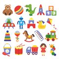 Cartoon toys. Game toy teddy bear dinosaur rocket childrens cubes kite robot. Kids dolls vector