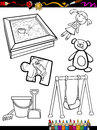 Cartoon toys objects coloring page book or illustration of black and white set for children education Stock Images