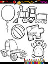 Cartoon toys objects coloring page book or illustration of black and white set for children education Stock Photos