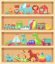 Cartoon toys on wood shelves. Funny animal baby piano girl doll and plush bear. Kids toy shopping shelf vector