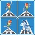 Cartoon traffic light and zebra. Royalty Free Stock Photo