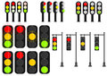Cartoon traffic lights Royalty Free Stock Photo