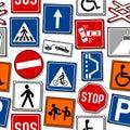 Cartoon Traffic Signs Seamless Pattern