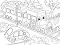Cartoon train train and car coloring book for children cartoon vector illustration Royalty Free Stock Photo