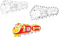 Cartoon train. Vector illustration. Coloring and dot to dot game Royalty Free Stock Photo