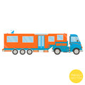 Cartoon transport. Campervan illustration. View from side.