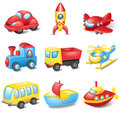 Cartoon transport set of colorful toys Stock Photo