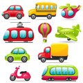 Cartoon transport set of icons Stock Images