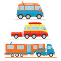 Cartoon transport set. Van with surfboard, van with trailer, campervan. Vector illustration