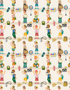 Cartoon travel people seamless pattern Stock Images