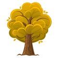 Cartoon tree autumn orange oak tree with luxuriant foliage vector illustration Stock Photos