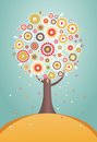 Cartoon tree with flowers eps vector illustration Stock Image