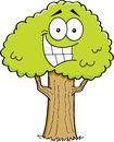 Cartoon tree illustration of a smiling Stock Photos