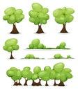 Cartoon Trees, Hedges And Bush Leaves Set