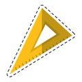 Cartoon triangle ruler utensil icon