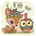 Cartoon tribal Deer and owl with feathers Royalty Free Stock Photo