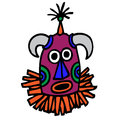 Cartoon tribal ritual witchdoctor mask Stock Images