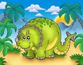 Cartoon triceratops in landscape Stock Image