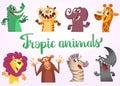 Cartoon tropic wild animals set. Vector illustrations of African animals. Crocodile alligator, tiger, elephant, giraffe, lion, mon
