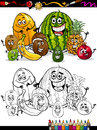 Cartoon tropical fruits for coloring book or page illustration of funny comic food characters group children education Stock Image