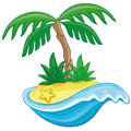 Cartoon tropical island. Royalty Free Stock Photo
