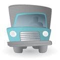 Cartoon truck driver land transportation vehicle illustration of a at work Royalty Free Stock Images
