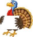 Cartoon turkey holding blank sign Royalty Free Stock Photo