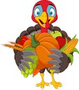 Cartoon turkey holding fruits and vegetables